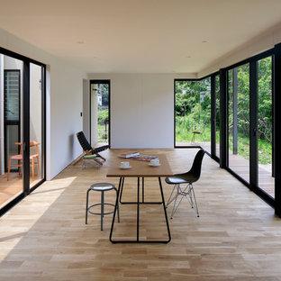 他の地域のインダストリアルスタイルのおしゃれなサンルーム (淡色無垢フローリング、茶色い床) の写真