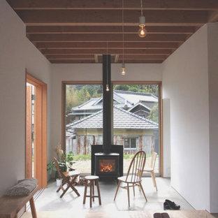 Diseño de comedor de cocina nórdico, pequeño, con paredes blancas, suelo de madera en tonos medios, estufa de leña, marco de chimenea de hormigón y suelo marrón