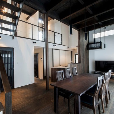 Great room - mid-sized asian dark wood floor great room idea in Tokyo with white walls