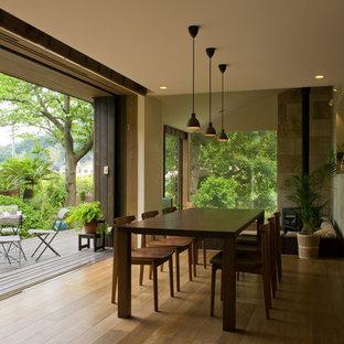 Idee per una sala da pranzo aperta verso il soggiorno etnica di medie dimensioni con pareti bianche, pavimento in legno massello medio, stufa a legna, cornice del camino in pietra e pavimento marrone