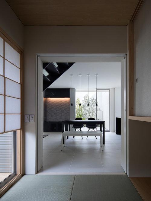 salle manger de taille moyenne avec un sol de tatami photos et id es d co de salles manger. Black Bedroom Furniture Sets. Home Design Ideas