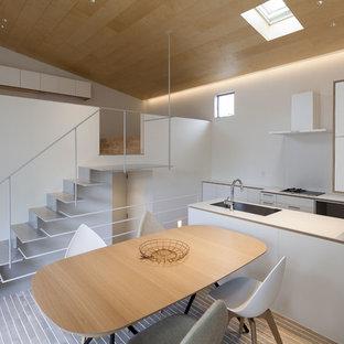 横浜のアジアンスタイルのおしゃれなダイニングキッチン (白い壁、グレーの床) の写真