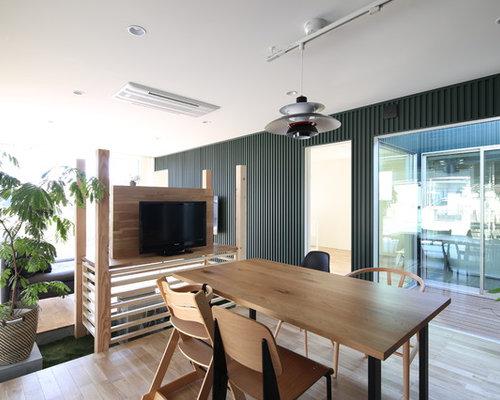 industrial esszimmer mit gr ner wandfarbe ideen design bilder houzz. Black Bedroom Furniture Sets. Home Design Ideas