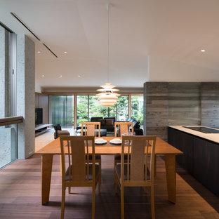Immagine di una sala da pranzo aperta verso il soggiorno etnica con pareti grigie, parquet scuro e nessun camino