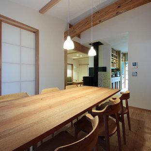 Ispirazione per una sala da pranzo scandinava con pareti bianche, parquet chiaro, stufa a legna, cornice del camino in pietra e pavimento beige