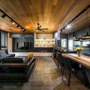 エクレクティックスタイルのおしゃれなダイニング (黒い壁、横長型暖炉、グレーの床) の写真