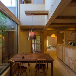 Modelo de comedor de cocina asiático, pequeño, sin chimenea, con suelo de madera clara y paredes beige