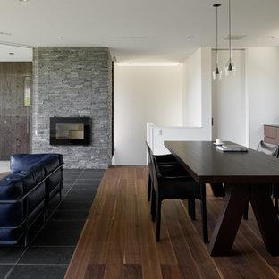 他の地域のコンテンポラリースタイルのおしゃれなLDK (白い壁、濃色無垢フローリング、標準型暖炉、石材の暖炉まわり、茶色い床) の写真