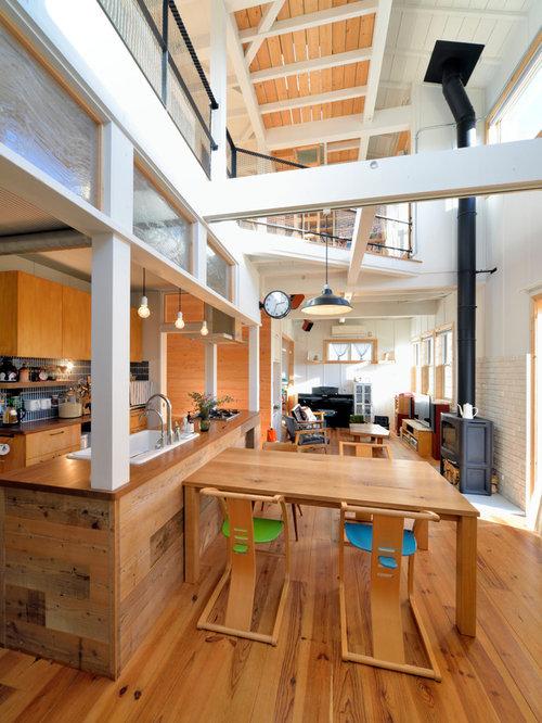 salle manger asiatique avec un manteau de chemin e en carrelage photos et id es d co de. Black Bedroom Furniture Sets. Home Design Ideas