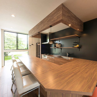 Inspiration for a scandinavian medium tone wood floor and brown floor dining room remodel in Nagoya with black walls