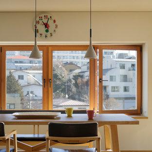 日本 東京23区の広いアジアンスタイルのLDKの写真 (白い壁、淡色無垢フローリング、ベージュの床)