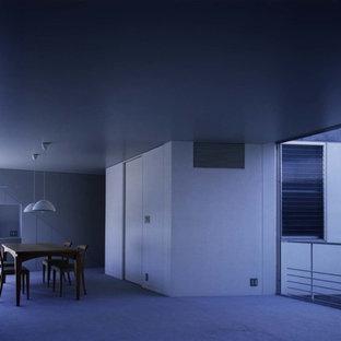 На фото: большая столовая в стиле модернизм с белыми стенами, ковровым покрытием и зеленым полом с