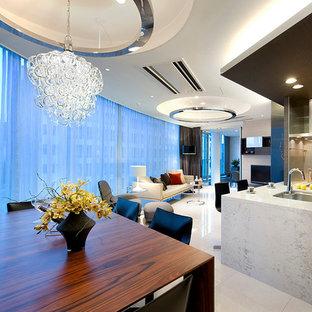 東京23区の大きいコンテンポラリースタイルのおしゃれなLDK (白い壁、セラミックタイルの床、暖炉なし) の写真