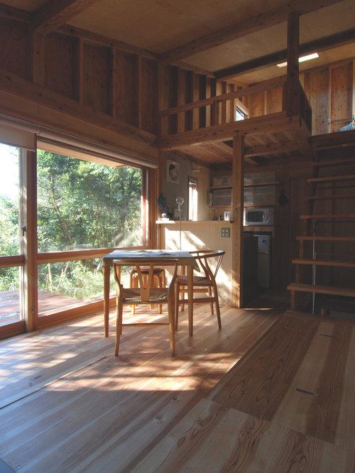 sala da pranzo aperta verso il soggiorno in montagna con pavimento ... - Arredare Soggiorno Con Sala Da Pranzo 2