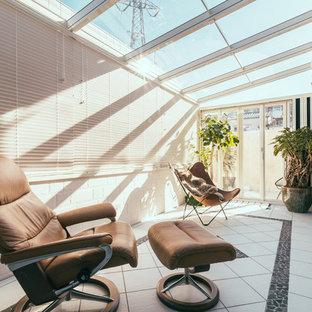 東京23区のコンテンポラリースタイルのおしゃれなテラス・中庭 (張り出し屋根) の写真