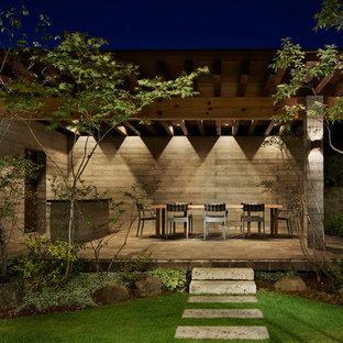 名古屋のアジアンスタイルのおしゃれなテラス・中庭 (アウトドアキッチン、コンクリート敷き、張り出し屋根) の写真