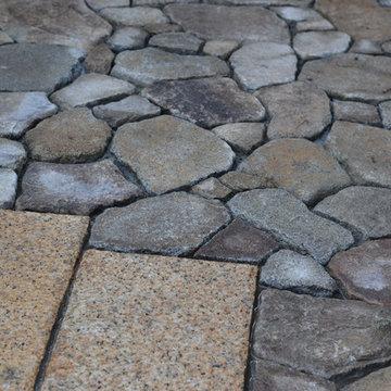 石貼りテラスの庭