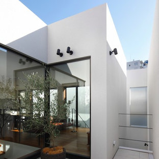 Inspiration for a large modern courtyard patio in Tokyo with tile and no cover.