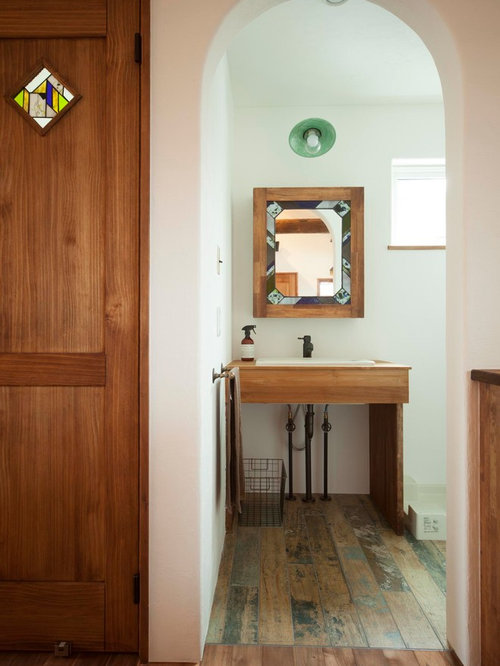 Best Powder Room With A Drop In Sink And Painted Wood Floors Design