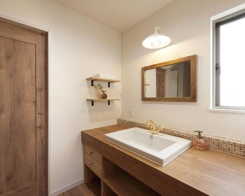 Landhausstil Gästetoilette & Gäste-WC mit Einbauwaschbecken: Ideen ... | {Waschtisch holz landhausstil 82}