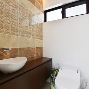 Inspiration for a modern cloakroom in Other with dark wood cabinets, brown tiles, porcelain tiles, white walls, plywood flooring, white floors and white worktops.