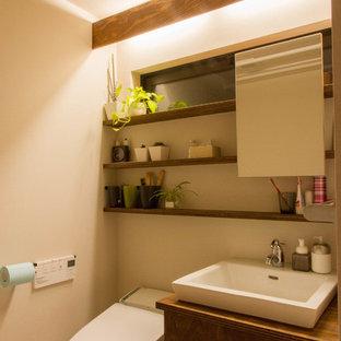 東京都下の小さいアジアンスタイルのおしゃれなトイレ・洗面所の写真
