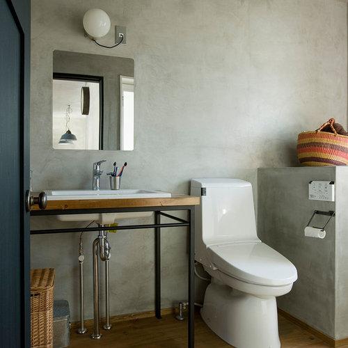 best 70 industrial gray tile powder room ideas