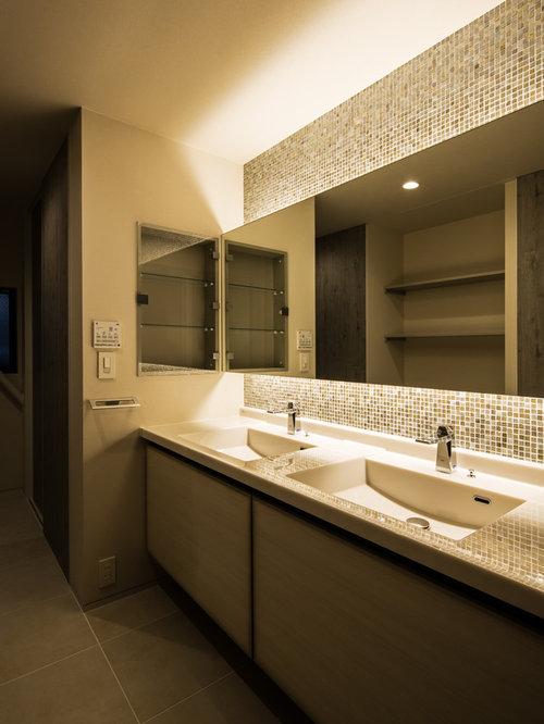 Foto e idee per bagni di servizio bagno di servizio con pavimento in ardesia e piastrelle a - Bagno in ardesia ...