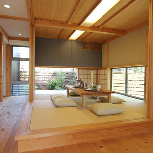 Foto di un soggiorno etnico con pareti verdi, pavimento in tatami e pavimento verde