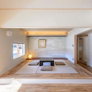 Exemple d'une salle de séjour asiatique avec un mur multicolore, un sol de tatami et un sol gris.
