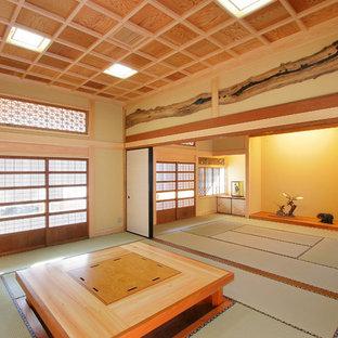 Ispirazione per un soggiorno etnico con pareti marroni, pavimento in tatami e pavimento verde