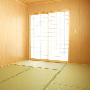 Idee per un soggiorno etnico di medie dimensioni e chiuso con pavimento in tatami e nessun camino