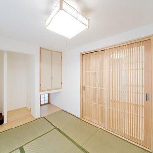 Idee per un soggiorno con pavimento in tatami e pavimento verde