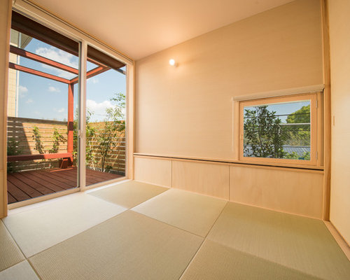 salle de s jour avec un sol de tatami photos et id es d co de salles de s jour. Black Bedroom Furniture Sets. Home Design Ideas