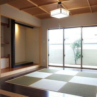 Inspiration pour une salle de séjour design avec un sol de tatami.