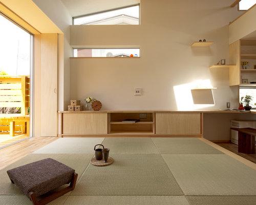salle de s jour moderne avec un sol de tatami photos et id es d co de salles de s jour. Black Bedroom Furniture Sets. Home Design Ideas