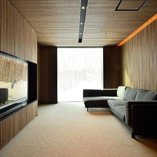 札幌のモダンスタイルの独立型ホームシアターの画像 (茶色い壁、カーペット敷き)