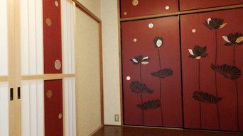 水玉の障子建具とロータスの襖(ふすま)
