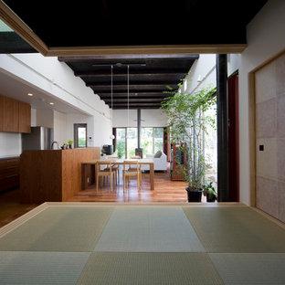 他の地域のアジアンスタイルのおしゃれなファミリールーム (白い壁、濃色無垢フローリング、薪ストーブ、石材の暖炉まわり、据え置き型テレビ、茶色い床) の写真