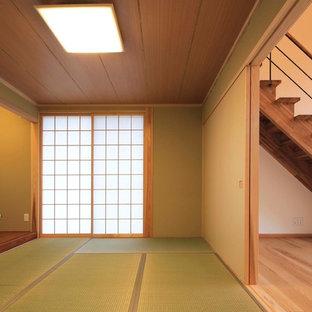 Ispirazione per un soggiorno etnico con pareti verdi, pavimento in tatami e pavimento verde