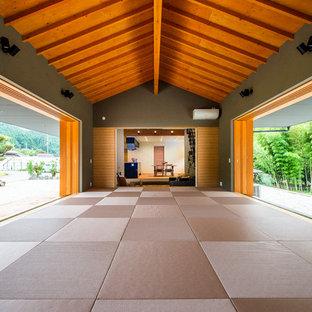 Fernseherloses Modernes Wohnzimmer mit grüner Wandfarbe, Tatami-Boden und rosa Boden in Sonstige