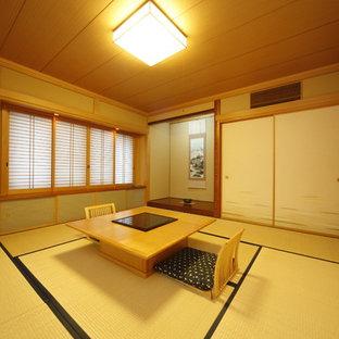Foto di un soggiorno etnico di medie dimensioni e chiuso con pareti verdi, nessun camino e nessuna TV