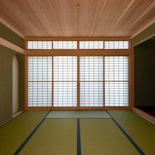 Idee per un grande soggiorno etnico con pareti verdi, pavimento in tatami e pavimento verde