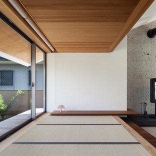 他の地域のコンテンポラリースタイルのおしゃれなファミリールーム (白い壁、畳、薪ストーブ、石材の暖炉まわり、緑の床) の写真