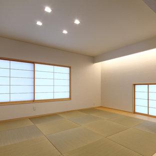 Immagine di un grande soggiorno etnico con pareti bianche, pavimento in tatami e pavimento verde