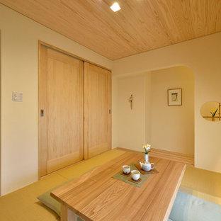 Ispirazione per un soggiorno etnico con pareti bianche, pavimento in tatami e pavimento marrone