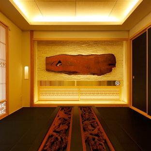Exemple d'une salle de séjour tendance avec un sol de tatami et aucune cheminée.