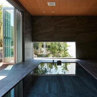 Imagen de piscina asiática rectangular y interior