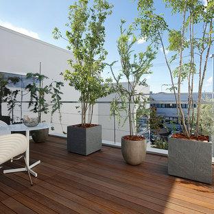 Idee per terrazze e balconi moderni con un giardino in vaso, nessuna copertura e parapetto in materiali misti