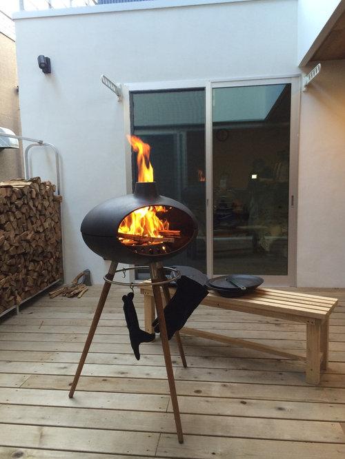 Skandinavische terrasse mit feuerstelle   ideen für die ...